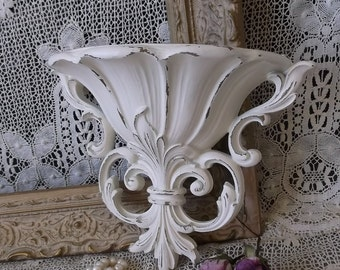 Art Nouveau, Vintage wall pocket, Shabby white, planter pocket, Ornate wall pocket
