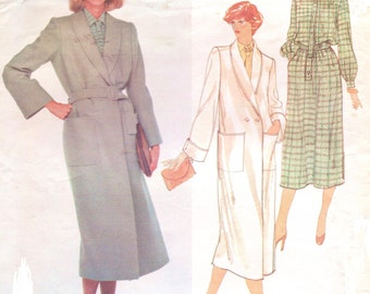 80s Christian Dior Womens Wrap Coat Shawl Collar and Blouson Dress Vogue Paris Original Sewing Pattern 2046 Size 10 Bust 32 1/2