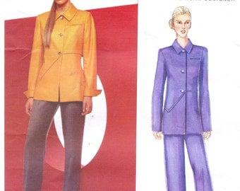 Bill Blass Womens Below Hip Jacket & Straight Legged Pants Vogue American Designer Pattern 2463 Size 14 16 18 Bust 36 38 40 UnCut