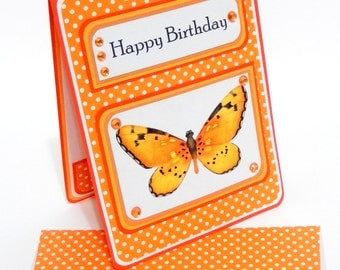 Happy Birthday Card with Matching Embellished Envelope- Orange Butterfly