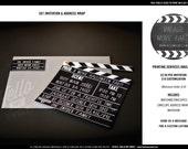 Vintage Movie Invitation Printable - Clapboard Chalkboard Handwritten Design - PERSONALIZED