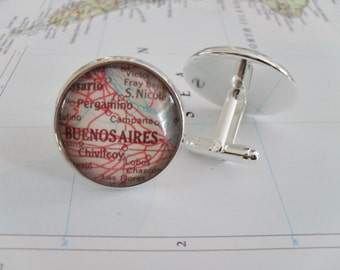 BUENOS AIRES  Map CUFFLINKS // Argentina map cufflinks // groomsmen gift // Christmas // cuff links // custom map cufflinks // personalized