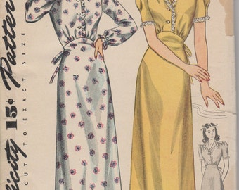 Bust 34-FACTORY FOLDED 1930's Misses' Long or Short Nightgown Simplicity 4758 Size 16