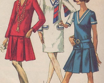 1968 Misses' Dress or Top and Skirt Simplicity 7934 Size 12 Bust 34