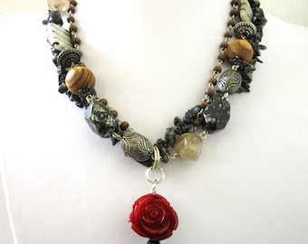 Day of the Dead Necklace Sugar Skull Red Rose Black Wood Stone Gray