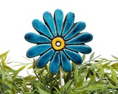 Flower garden art - plant stake - garden decor - flower ornament  - ceramic flower - daisy - teal