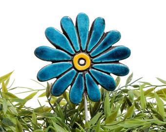 Flower garden art - plant stake - garden decor - flower ornament  - ceramic flower - daisy - teal