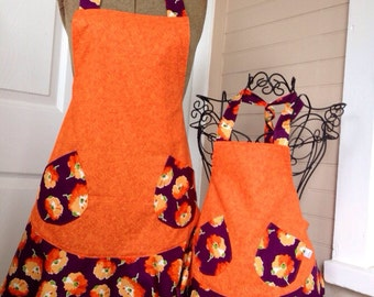 Orange and Purple Floral Matching Flounce Aprons
