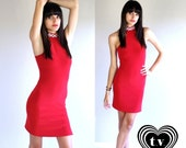 sale vtg 80s lipstick red RHINESTONE cut out cage Mini BANDAGE DRESS xs party cocktail bodycon