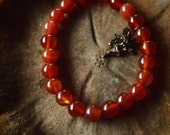 Carnelian mala bead bracelet
