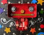 Recycled Art -  Mr. Red - Robot Art - Mixed Media Assemblage by Jen Hardwick - REDUCED