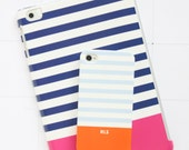 Monogrammed Stripe iPhone Case, NEW Colors, Fall 2015, Colorblock Stripe, Personalized, Emily Ley, Pencil Shavings Studio, Stripes, Nautical
