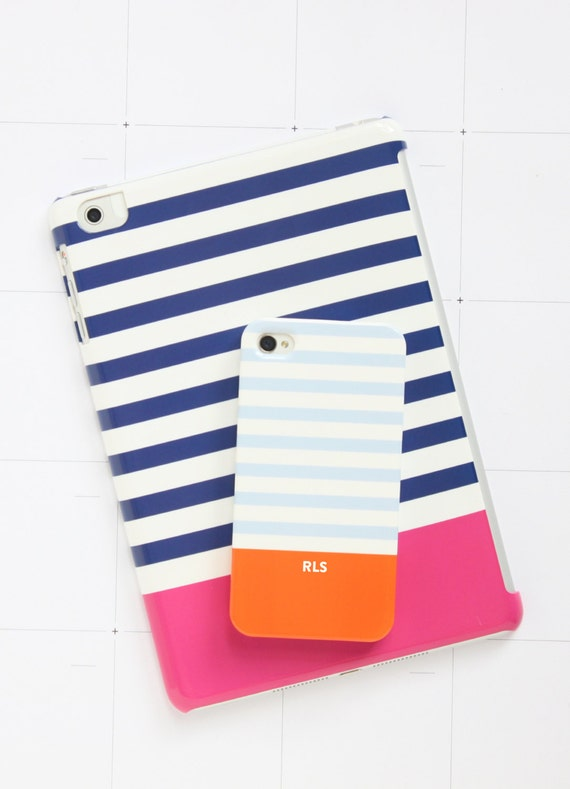 Colorblock Stripe Monogrammed iPhone and Samsung Galaxy Case