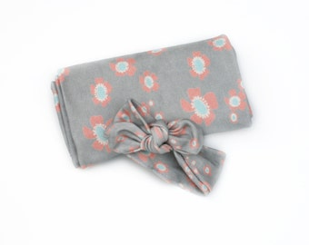 Knotty Headband and Blanket - Gray with Coral and Blue Flowers -  Organic Baby Swaddle Blanket and Matching Headband Baby Girl Eco-Friendly