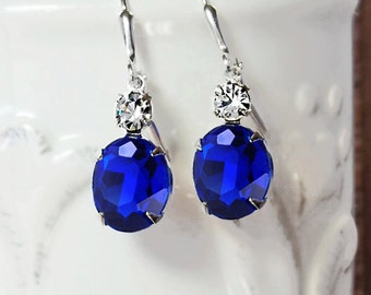Sapphire Earrings Vintage 50's Sapphire Glass Rhinestones New Silver Plated Settings and Earwires September Birthstone Wedding Jewelry Prom