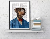 Winter Sale 10% off Decorative art Dachshund in blue suit, Wall Art Illustration Original Print Art Dachshund Illustration Doxie BPAN132