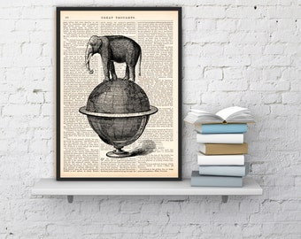 Summer Sale Wall art Book Print Dictionary or Encyclopedia The Elephant takes a walk over a world globe wall art print ANI093