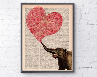 Summer Sale Wall decor Elephant with a Heart made of Flowers Love book print Elephant wall art  Dictionary Print gift her ANI099