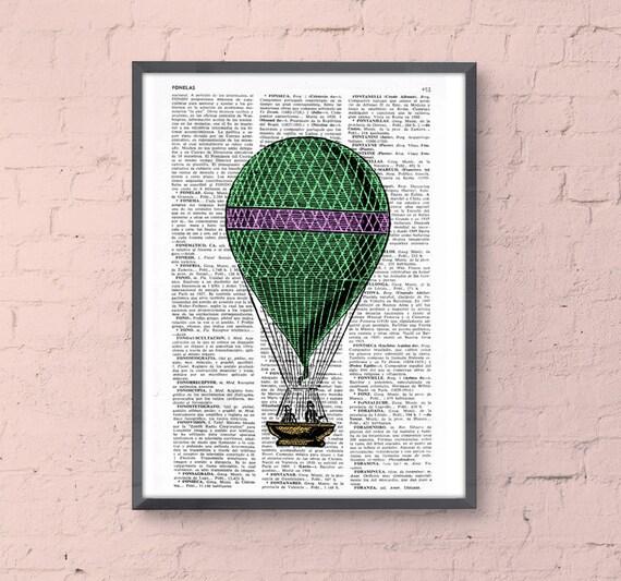 Green and pink  Hot Air Balloon Print, Upcycled Dictionary Print, Balloon Illustration wall art wall decor hot air balloon art BPTV149