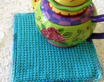 Crochet Potholder - Blue Crochet Hot Pad - Blue Pot Holder in Tunisian Crochet - Cotton Pot Holder