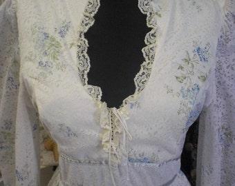 White And Blue Gunnie Sax Style Prairie Dress