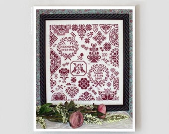 My Token of Love Valentine's Day cross stitch pattern by Rosewood Manor at thecottageneedle.com wedding anniversary sampler embroidery