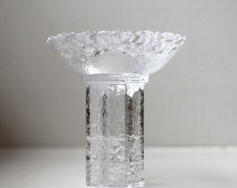 Orrefors Sweden Glass Olympic Torch Candle Holder Crystal Votive Art Glass 1980's
