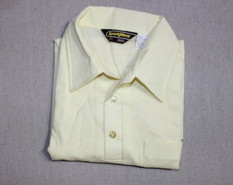vintage 1970's -Sears Sportswear- Men's short sleeve knit shirt. 'New Old Stock'. Solid Pale Yellow - Polo style. Medium