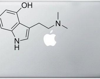 Psilocybe Cubensis Compound Molecule laptop DECALS- macbook iPad computer- magic mushrooms, chemical structure- vinyl sticker