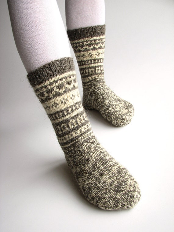 Patterned Woolen Boot Socks - Undyed Natural Organic Handspun Wool Yarn - Hand Knitted