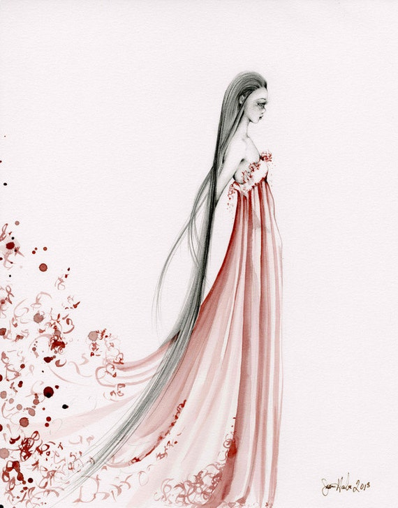 Abstract Wine Staining Painting OOAK Fashion Illustration Pencil Drawing Burgundy Red Wine Dress Beautiful Figure Drawing ohtteam