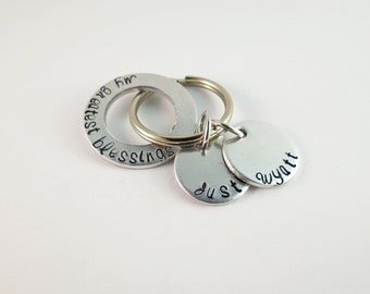 Personalized Keychain with Silver Washer with Two Names - Key Chain - Dad - Mom - Grandma - Grandpa - Nana - Papa - Custom _ Fathers Day
