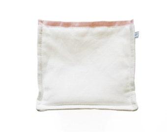 White fabric storage bin with pink trim SALE Nursery storage bin Linen bread bin Fabric basket