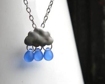 Blue Cloud Necklace Women's Silver Rain with Drop Beads Jewelry for Her Mom Mother Gift Christmas Stocking Stuffer Indigo Minimalist Girl