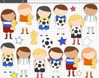 Soccer ClipArt, Football Digital Clip Art, Girl Sport Digital, Boy Sport Clipart, Commercial Use, Instant Download
