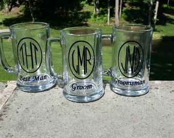 Groomsmen gift beer mugs, monogrammed beer steins for best man gift and groomsman, wedding party. Circle monogram with title. Groom mug gift