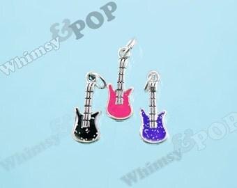 1 - CLEARANCE SALE Tibetan Silver Enamel Pink Black Purple Rockstar Tiny Guitar Charm, Musician Charm, Guitar Charm, 8mm x 25mm (6-6D)