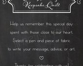 PRINTABLE Custom Wedding Quilt Sign, INSTANT DOWNLOAD, Chalkboard Style Wedding Keepsake Quilt Guestbook Sign