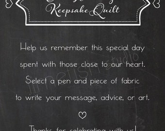 PRINTABLE Custom Wedding Quilt Sign, INSTANT DOWNLOAD, Chalkboard Style Wedding Keepsake Quilt Guestbook Sign