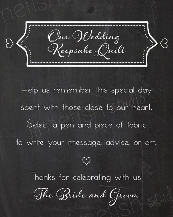 printable custom wedding quilt sign instant download