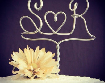 Custom Monogram or Initials Silver Wedding Cake Topper