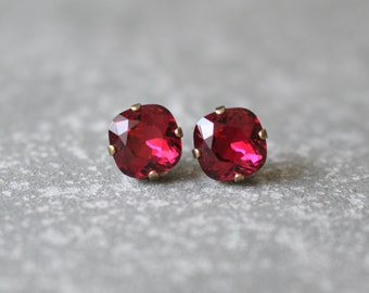 Ruby Red Earrings Swarovski Crystal Deep Red Square Stud Earrings Mashugana