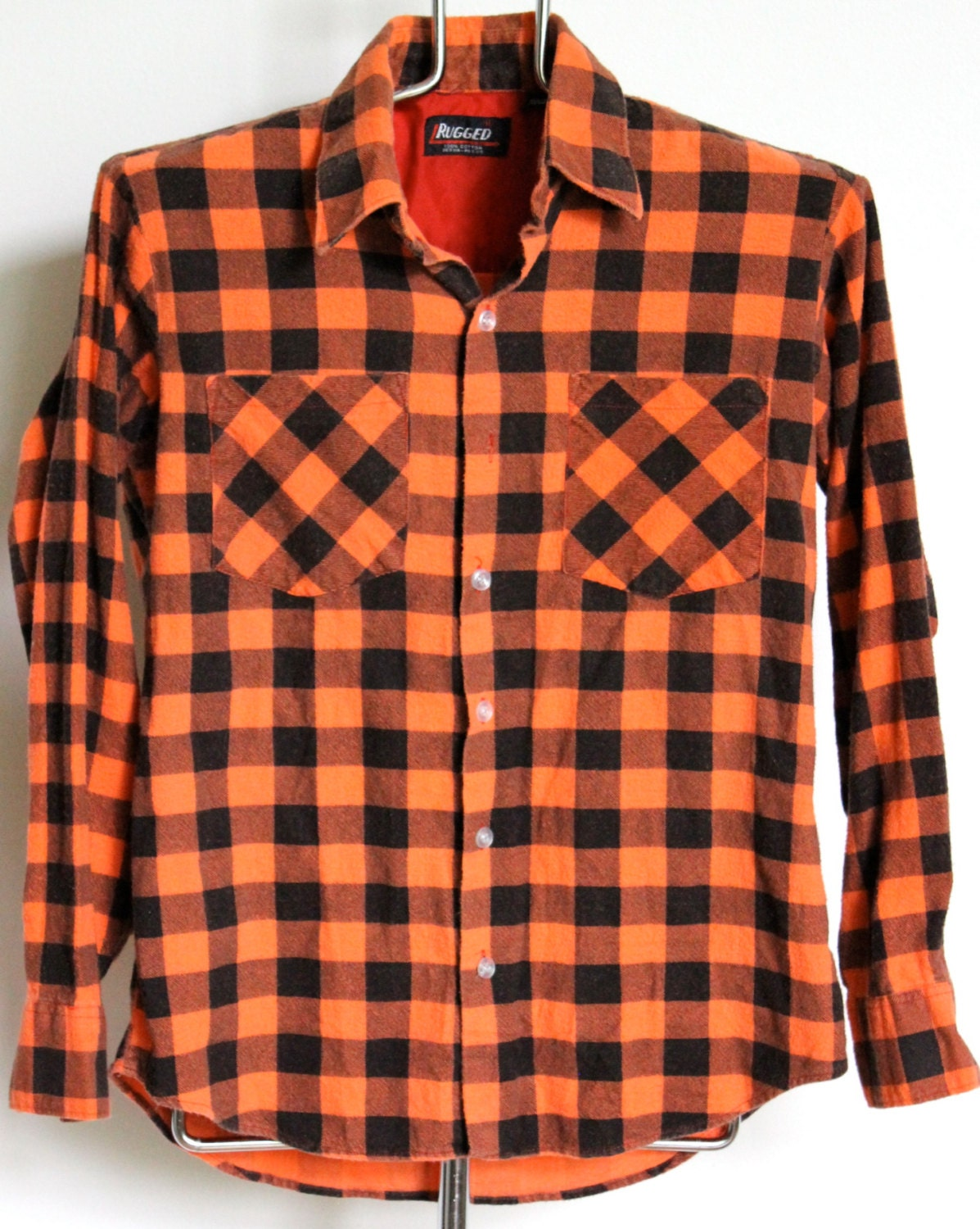 rugged orange buffalo plaid flannel shirt mens fitted medium