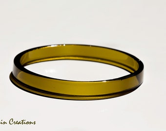 Eco Friendly Stacking BANGLE Bracelet made from a Wine Bottle, Golden Seaweed Color,  Eco Gift, Dessin Creations