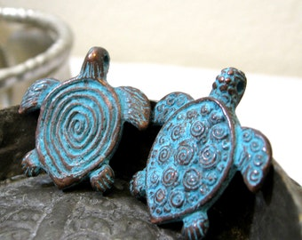 Mykonos Greek Pendant Double Sided Turtle With Swirls Bronze with Green Patina ONE PENDANT