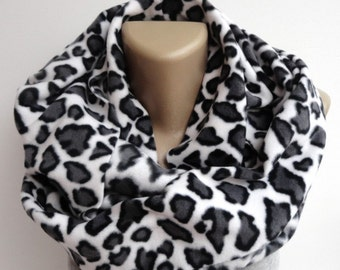 CHRISTMAS, HOLIDAY GIFT, Gifts For Her, Gifts For Women Leopard Scarf Fleece Scarf Women Infinity Scarf Winter Scarf Women  Accessories