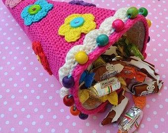 Crochet candy cone - crochet pattern, DIY
