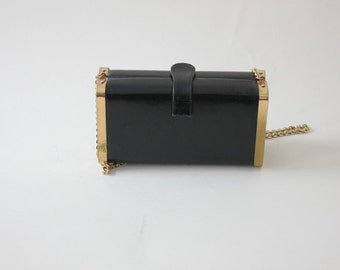Box Handbag / 60s Handbag /  Black Structured Bag / Shoulder Bag