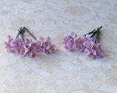 Lavender Purple Small Mini Flower Hair Pins