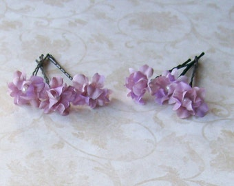 Lavender Purple Small Mini Flower Hair Pins